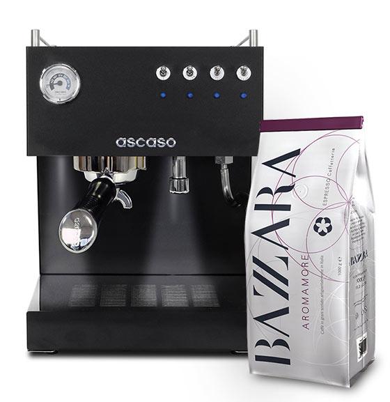 ASCASO Steel DUO PID Black&Wood oraz kawa Bazzara Aromamore