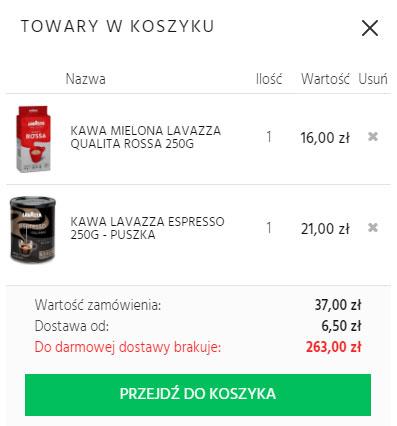 1. Dodaj do koszyka przynajmniej dwie kawy mielone Lavazza