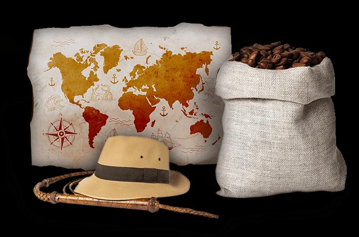 Worek kawy, kapelusz oraz mapa