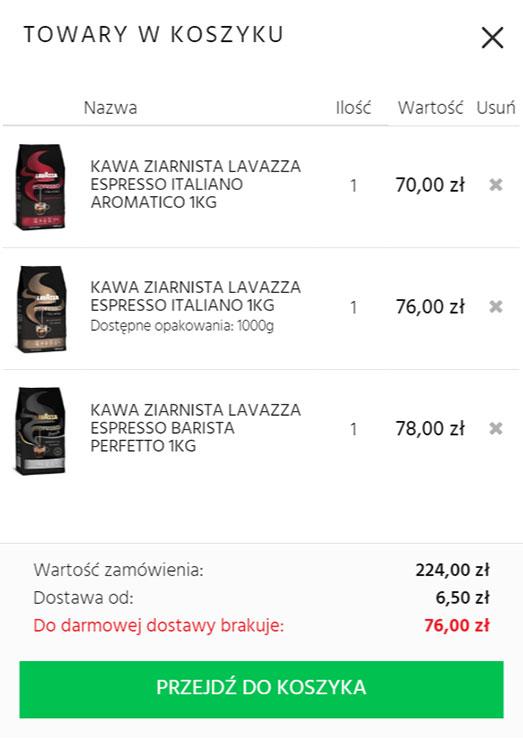 1 Krok  Dodaj do koszyka minimum                                  3 sztuki kaw objętych promocją