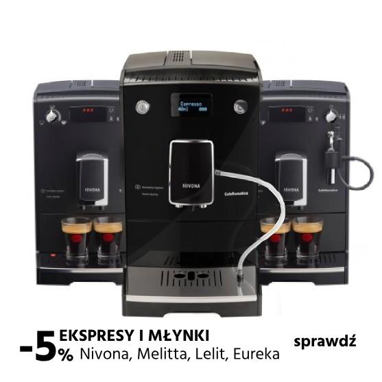 5% na młynki i ekspresy do kawy wybranych producentów: Nivona, Melitta, Lelit, Moccmaster, Eureka,