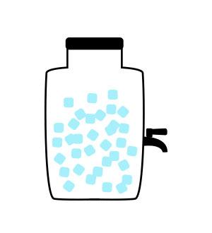 1. Słój wypełnij                          kostkami lodu.