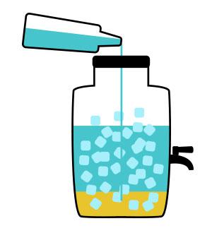3. Wlej 3 l wody                          niegazowanej.
