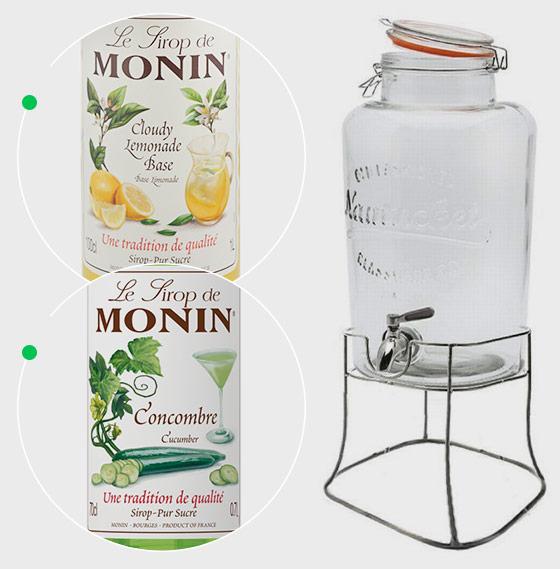 Monin Cloude Lemonade Base Monin 1l, Syrop Ogórek Monin 0,7 l + słój Monin
