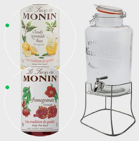 Monin Cloude Lemonade Base Monin 1l, Syrop grejpfrutowy + słój Monin