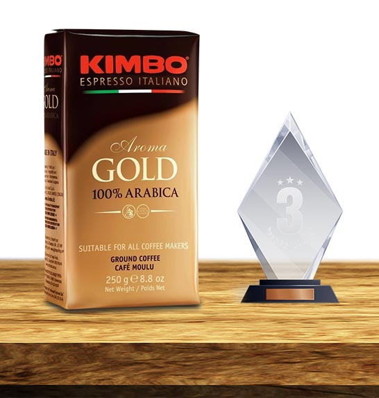 Trzecie miejsce w rankingu kaw mielonych zajęła KAWA MIELONA KIMBO AROMA GOLD 250G